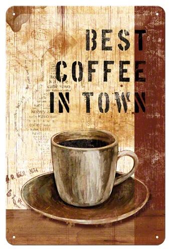Plechová cedule Best coffee in town - Nejlepší káva ve městě