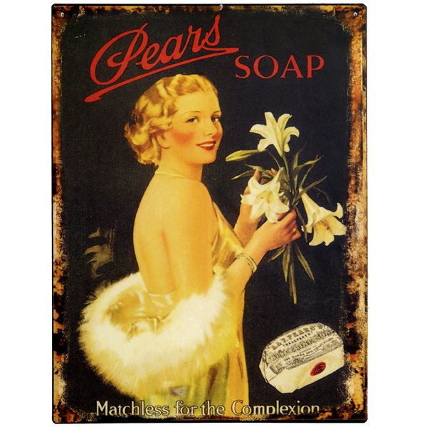 Plechová cedule Pears Soap - Žena střední