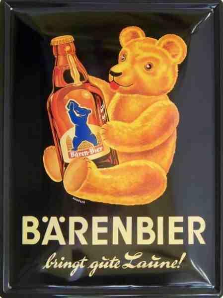 Plechová cedule pivo Barenbier - Medvěd