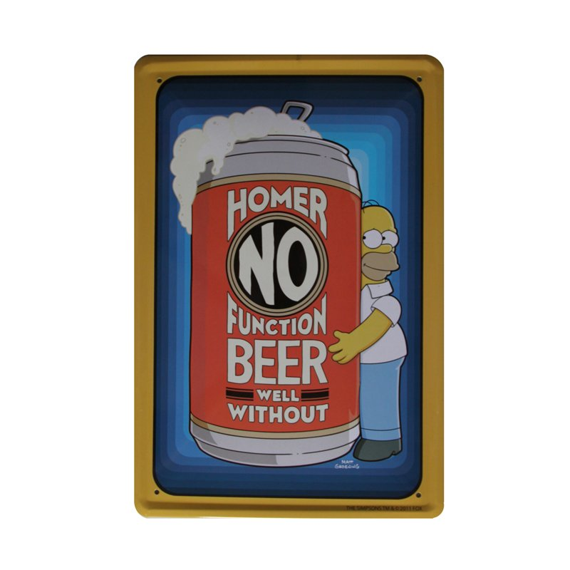 Plechová cedule The Simpsons - Homer No function beer well without Pivo