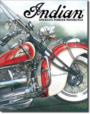 Plechová cedule motorka Indian America's pioneer motorcycle