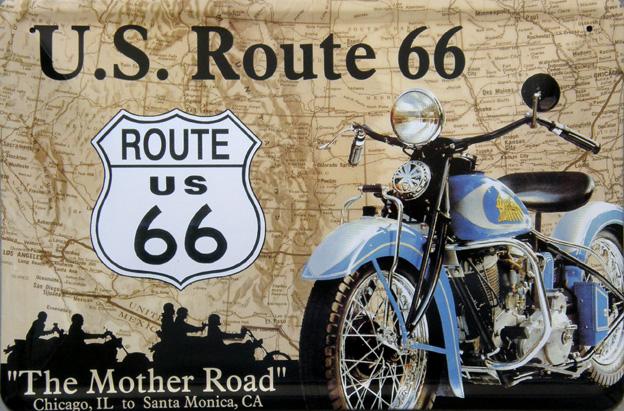 Plechový magnet Route 66