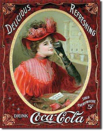 Plechová cedule Coca cola Delicious Refreshing - Red