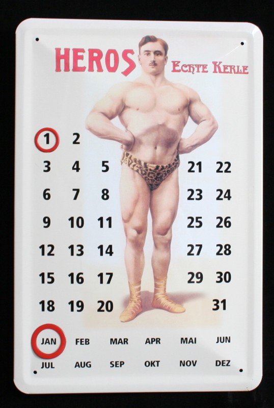 Plechový kalendář Heros - kulturista