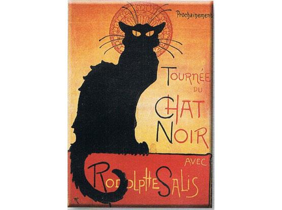 Plechová cedule Tournée du chat noir - černá kočka
