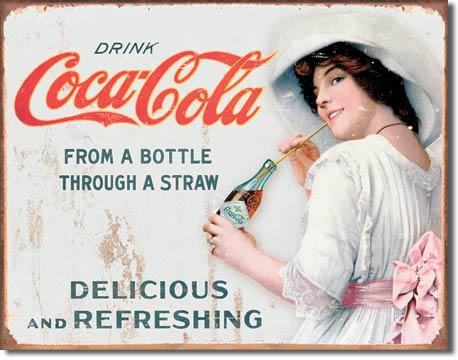 Plechová cedule Coca cola Delicious Refreshing - Straw