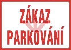 Smaltovaná výstražná cedule - Zákaz parkování (červená)