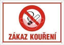 Smaltovaná výstražná cedule - Zákaz kouření (červená)