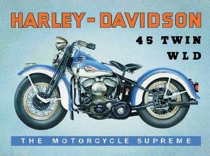 Plechová cedule mototka Harley Davidson 45 Twin WLD