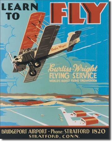 Plechová cedule Letadlo - Curtiss Wright