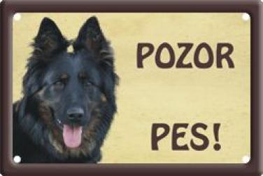 Plechová cedulka na vrata Chodský pes Pozor pes