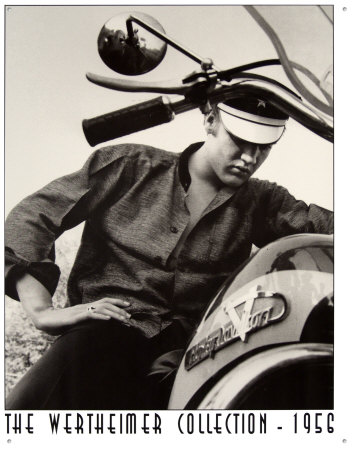 Plechová retro cedule Elvis The Wertheimer collection 1956 - motorka