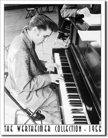 Plechová cedule Elvis s klavírem