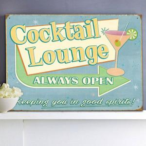 Plechová cedule Cocktail lounge always open
