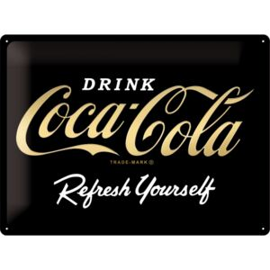 Plechová cedule Coca cola Drink - Refresh yourself black