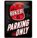 Plechová cedule Biker parking only red