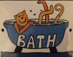 Smaltovaná cedulka na dveře Bath - Koupelna Kočka ve vaně